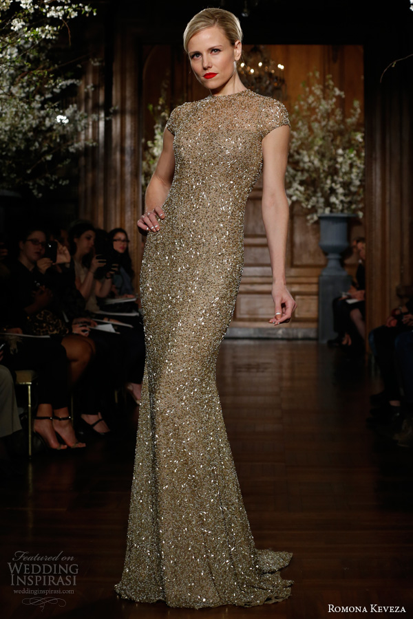romona keveza fall winter 2013 2014 ready to wear e1350 gold beaded fluted gown short sleeve open back