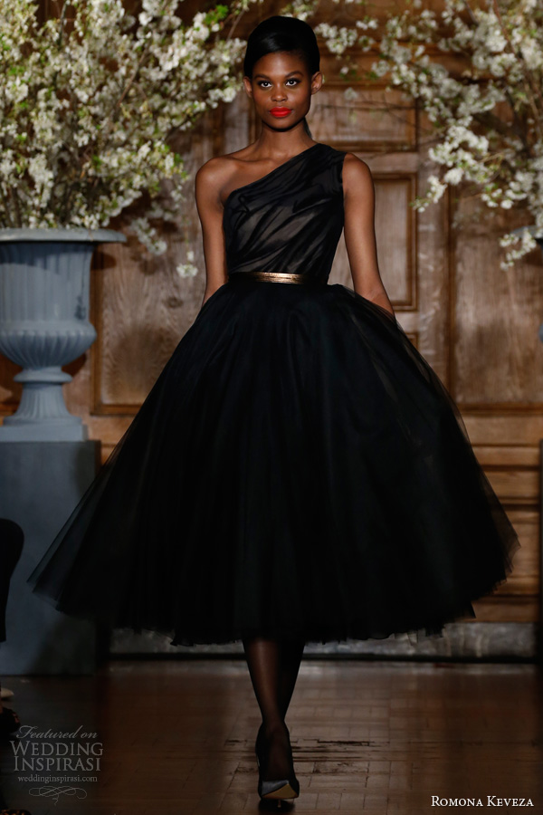 romona keveza fall winter 2013 2014 style e1355 onyx cocktail dress one shoulder bodice burn out velvet tea length silk net skirt