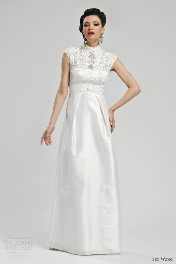 sue wong bridal 2013 wedding dress cap sleeves style w3330