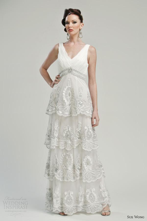 sue wong bridal 2013 wedding dress cap sleeves style w3332