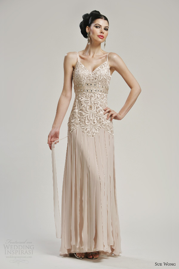 sue wong color wedding dresses 2013 bridal gown with straps panel skirt style w3162