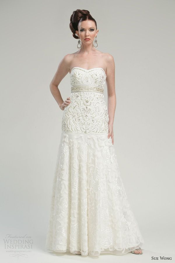 sue wong wedding dresses 2013 bridal strapless sweetheart gown style w3302