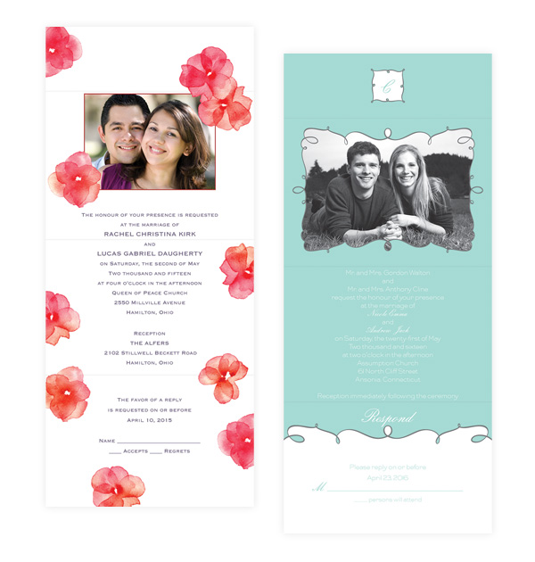 Wedding Invitations By Dawn Bridal Couple Photo Invite Style Dw23216fcbr Dw23209nfc