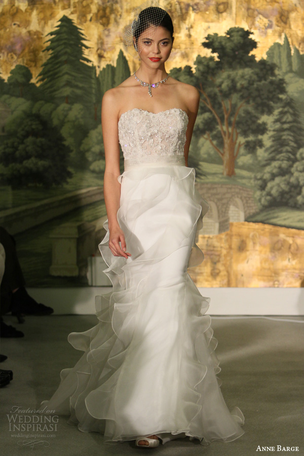 vestido de noiva primavera anne barcaça 2014 acácia strapless plissado saia