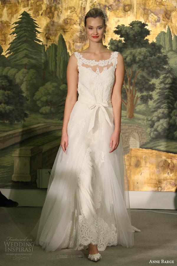 anne vestidos de noiva barcaça primavera 2014 Marguarite rendas vestido de decote sabrina
