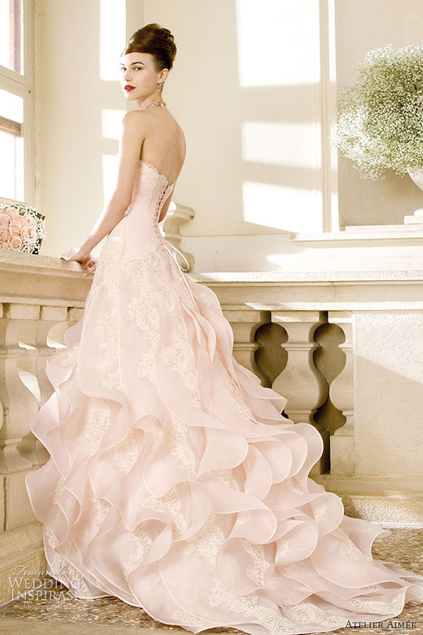 Atelier aim e 2014 pre collection wedding dresses for Pink ruffle wedding dress