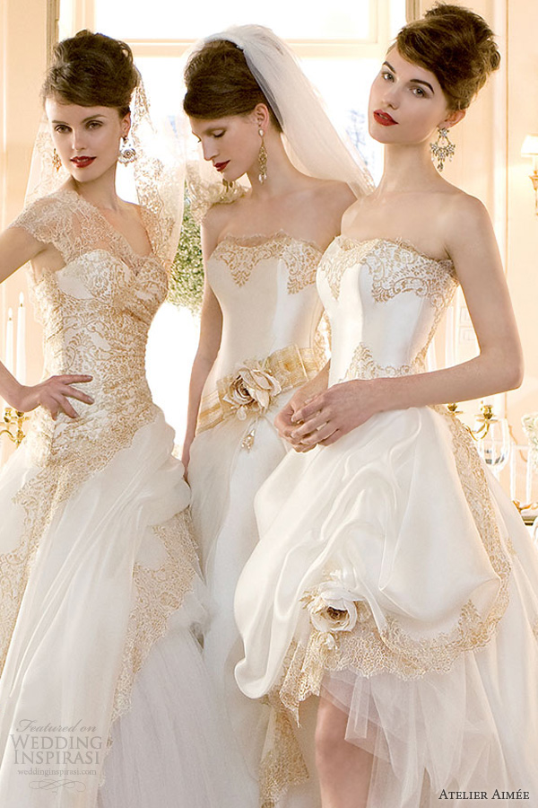Atelier aim e bridal 2014 pre collection wedding inspirasi for White and gold wedding dresses