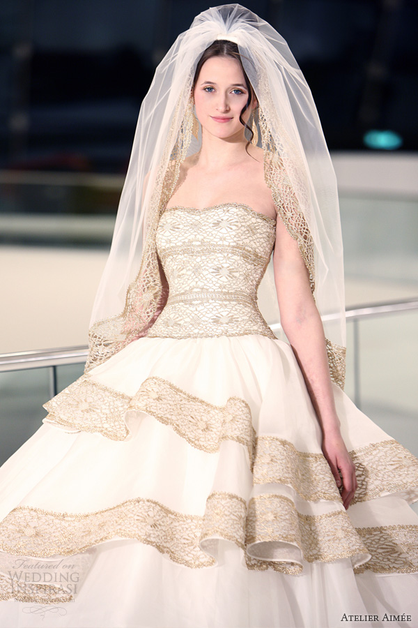 atelier aimee 2014 flavia strapless ball gown gold lace