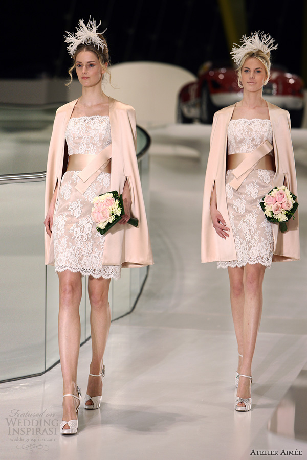 atelier aimee 2014 short wedding dress pink white lace sally