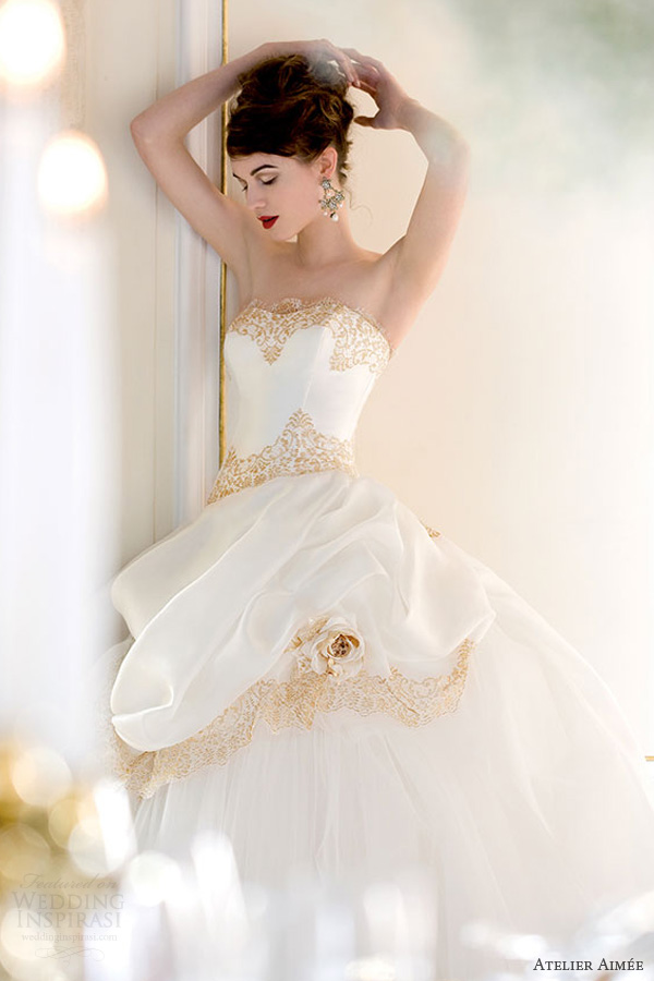 atelier aimee 2014 susanna strapless wedding dress gold lace overskirt bodice