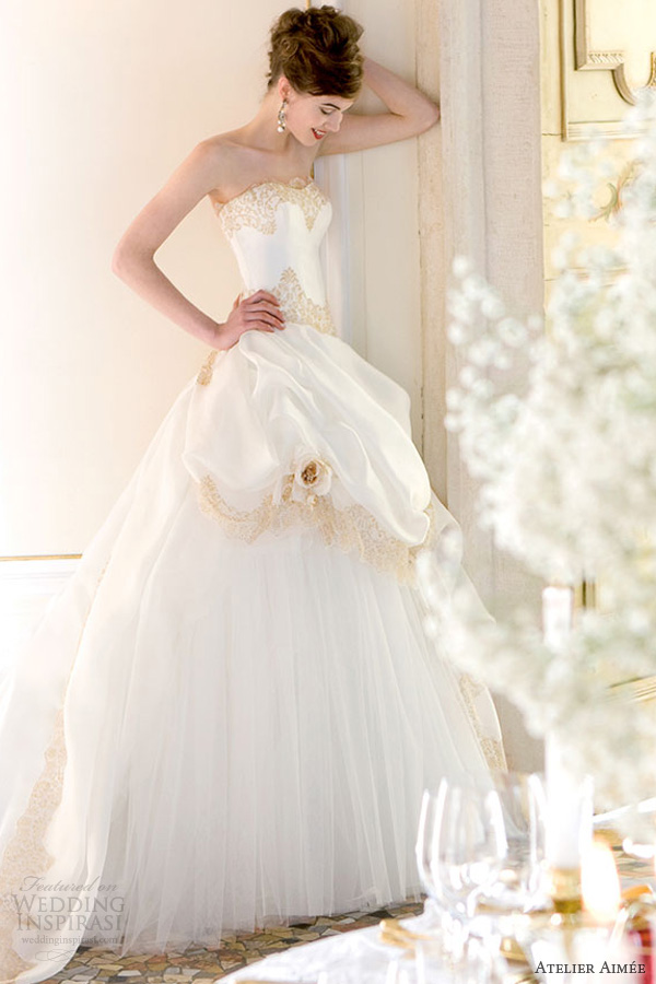 atelier aimee 2014 susanna strapless wedding dress gold lace overskirt
