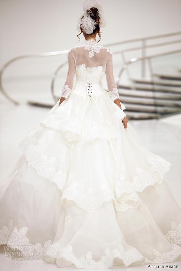 atelier aimee bridal 2014 charlotte lace ball gown long sleeve bolero jacket