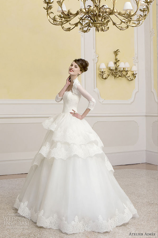 atelier aimee bridal 2014 charlotte strapless lace ball gown long sleeve bolero jacket