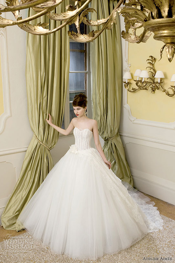 atelier aimee bridal 2014 claudine strapless wedding dress lace bodice full