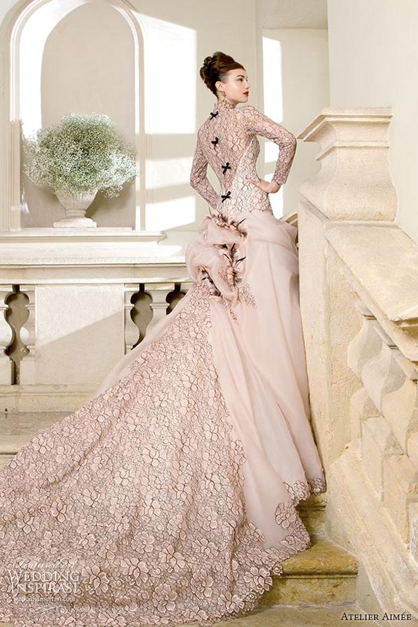 atelier aimee bridal 2014 ilena pink wedding dress black lace side