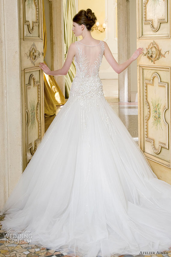 atelier aimee wedding dresses 2014 bridal vittoria sleeveless illusion gown back train