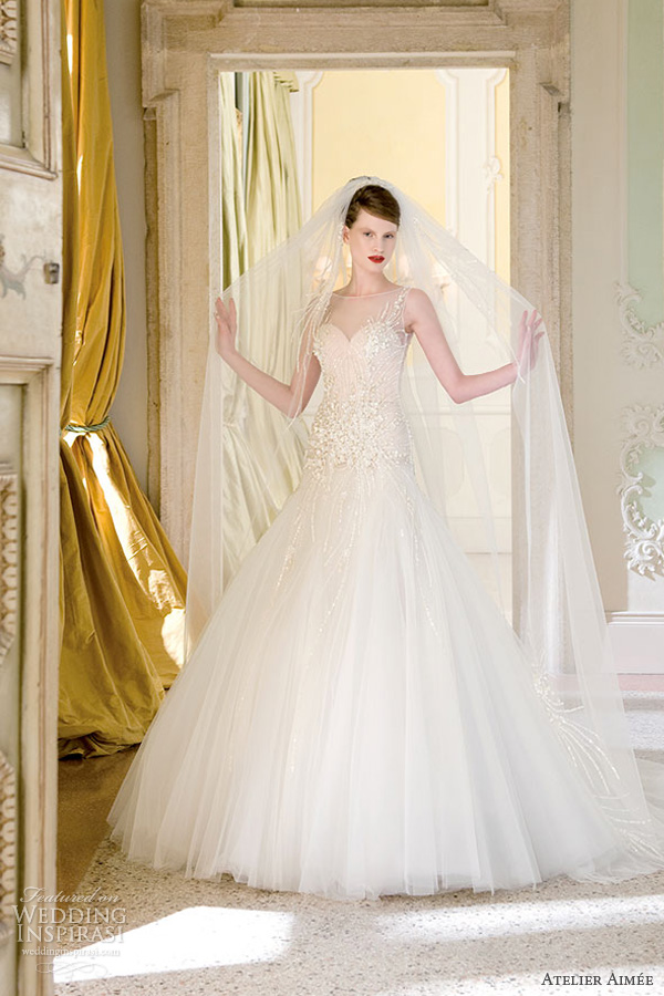 atelier aimee wedding dresses 2014 bridal vittoria sleeveless illusion gown