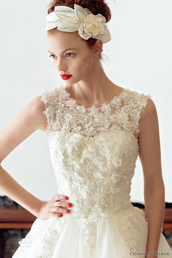 charlotte balbier 2014 rose sleeveless wedding dress close up bodice