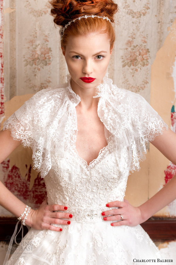 charlotte balbier bridal 2014 belle wedding dress cape bolero