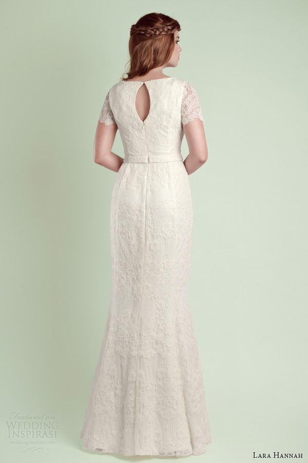 lara hannah 2014 magic wedding dress lace sleeves back view
