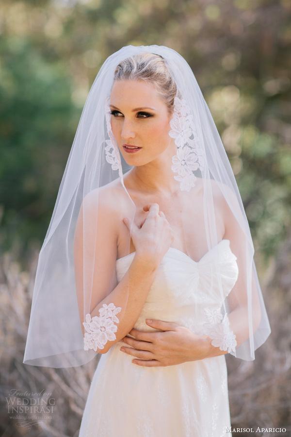 marisol aparicio bridal accessories alencon applique veil elbow length