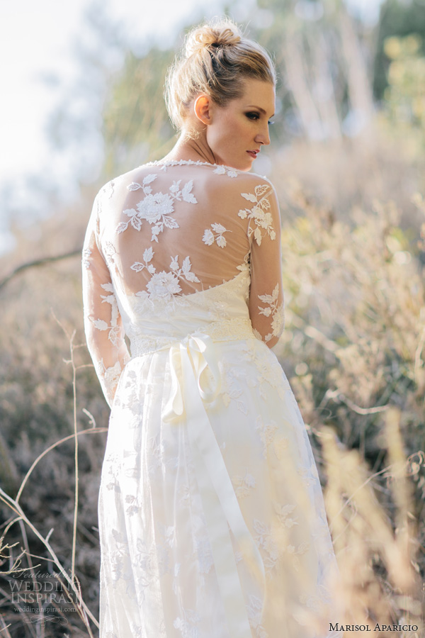 marisol aparicio fall 2013 bridal long sleeve lace wedding dress drop veil close up back