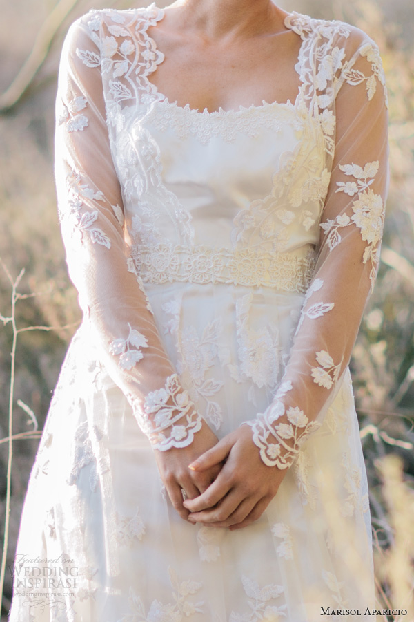 marisol aparicio fall 2013 bridal long sleeve lace wedding dress drop veil close up bodice