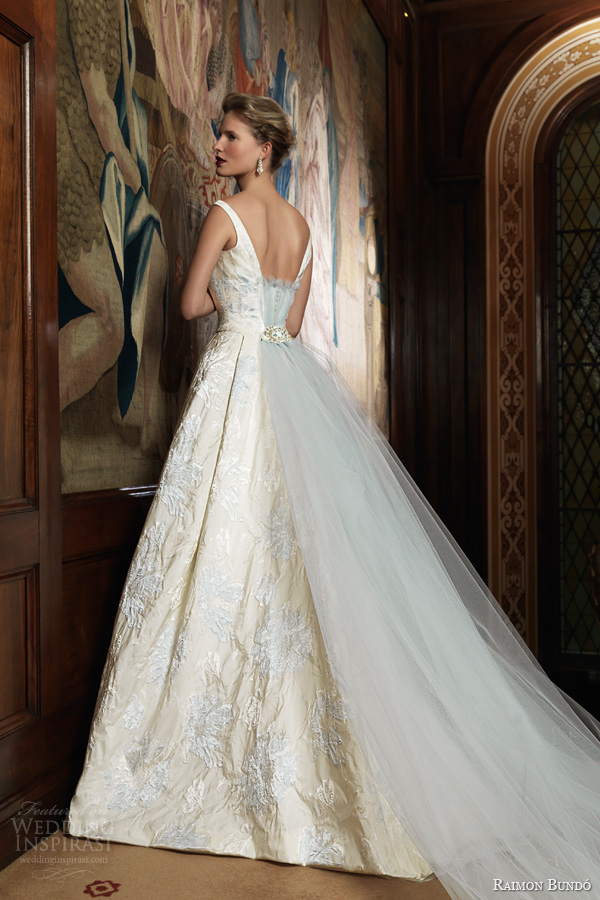 raimon bundo 2014 bridal ivo sleeveless ball gown pale blue embroidery back train