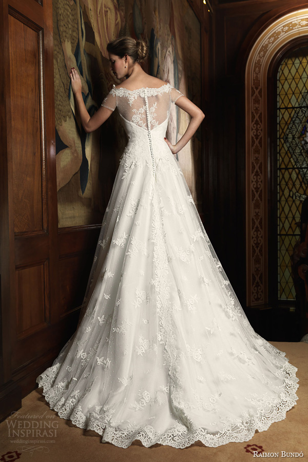 raimon bundo 2014 india wedding dress illusion sleeves back