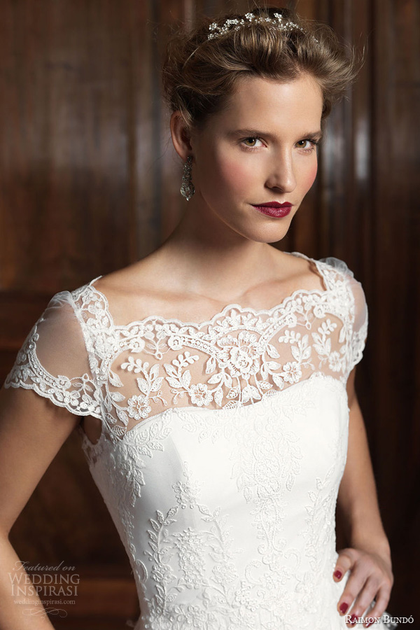 raimon bundo 2014 infanta wedding dress illusion neckline