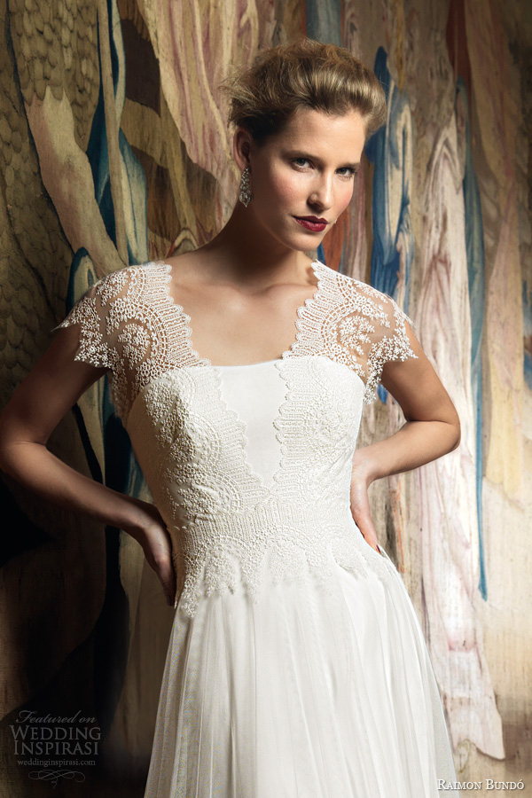 raimon bundo wedding dresses 2014 bridal ingrid gown lace cap sleeves close up