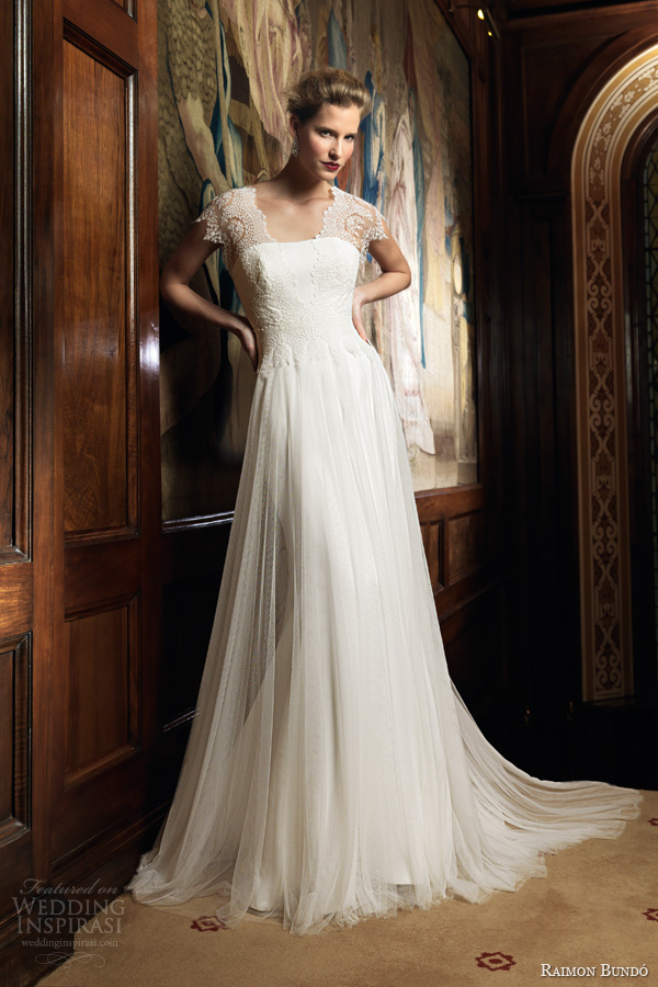 raimon bundo wedding dresses 2014 bridal ingrid gown lace cap sleeves