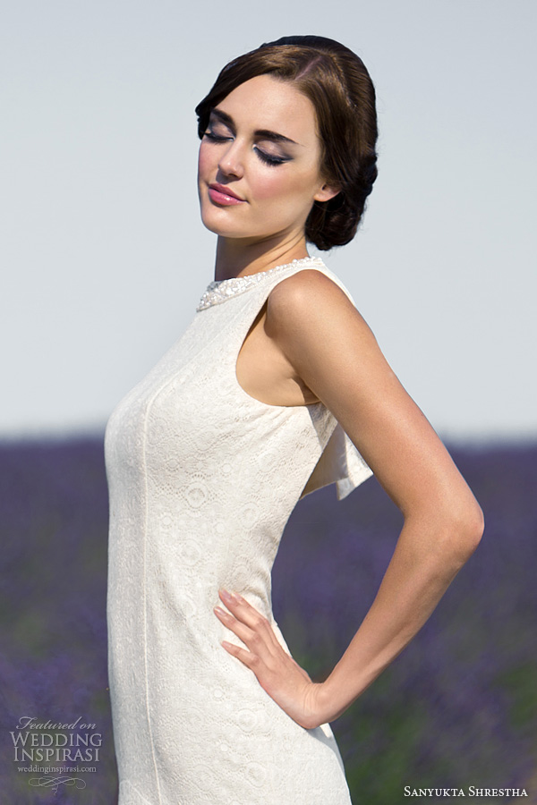sanyukta shrestha 2014 bridal hepburn sleeveless eco wedding dress embellished detail neckline