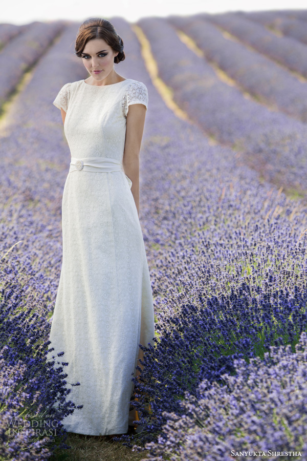 sanyukta shrestha 2014 bridal ruston short sleeve wedding dress lavender field