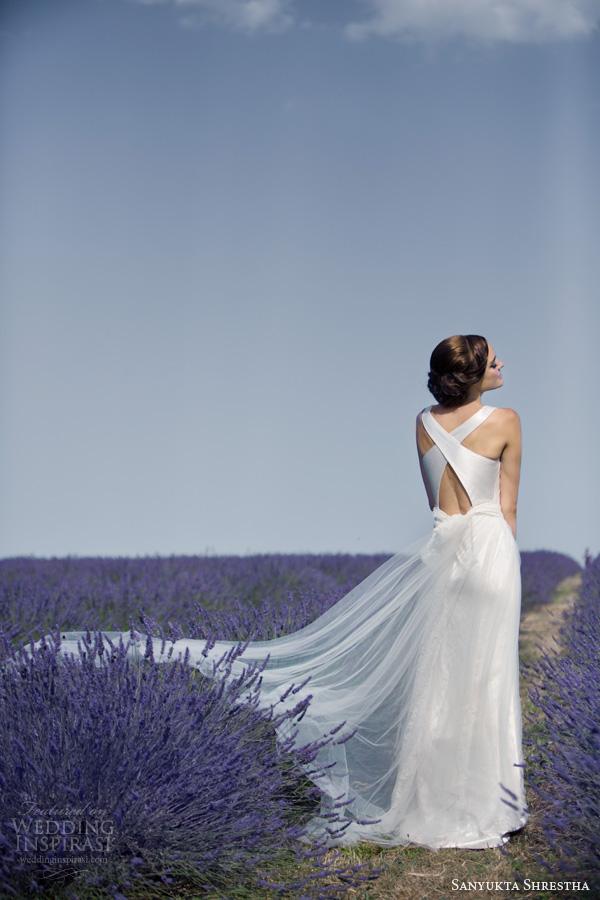 sanyukta shrestha bridal 2014 sabrina wedding dress cowl neck straps cross back