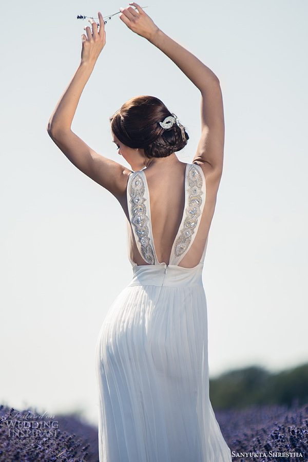 sanyukta shrestha wedding dresses 2014 sonia sleeveless gown back straps detail