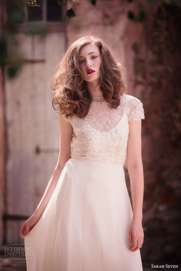 Sarah seven spring 2014 bridal la vie cap sleeve wedding dress beadedSarah Seven Spring 2014 Bridal Collection   Wedding Inspirasi. Sarah Seven Wedding Dresses. Home Design Ideas