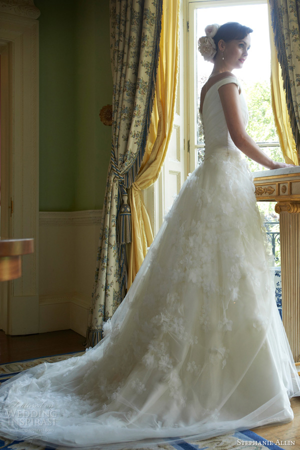 stephanie allin 2014 daisy wedding dress ball gown straps back train