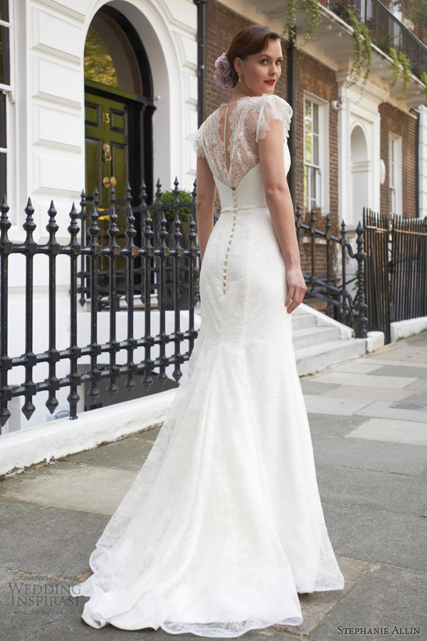 stephanie allin wedding dresses 2014 freya scallop lace cap sleeve sheath gown back train