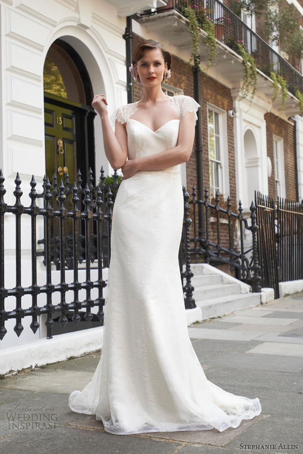 stephanie allin wedding dresses 2014 freya scallop lace cap sleeve sheath gown front