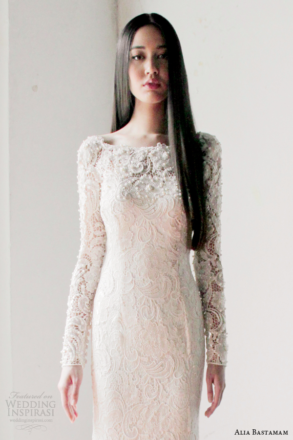 alia bastamam 2013 long sleeve lace wedding dress close up bodice