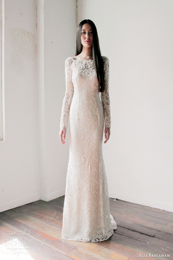 alia bastamam 2013 long sleeve lace wedding dress