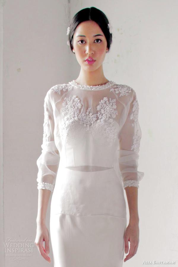 alia bastamam 2013 wedding dress illusion bodice sleeves close up