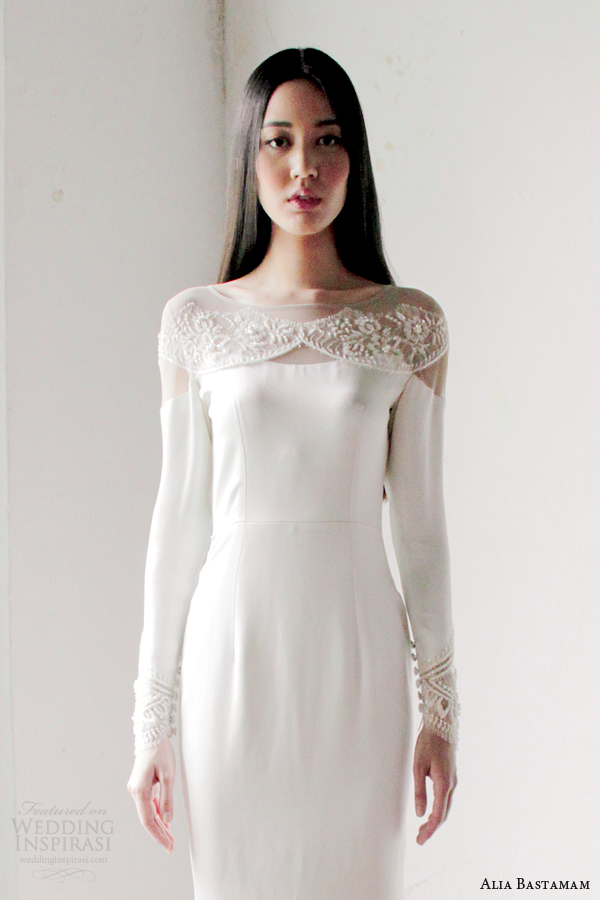 alia bastamam bridal 2013 wedding dress with long sleeves close up bodice