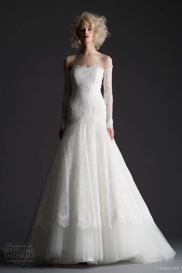 cymbeline 2014 honda romantic wedding dress off shoulder long sleeves