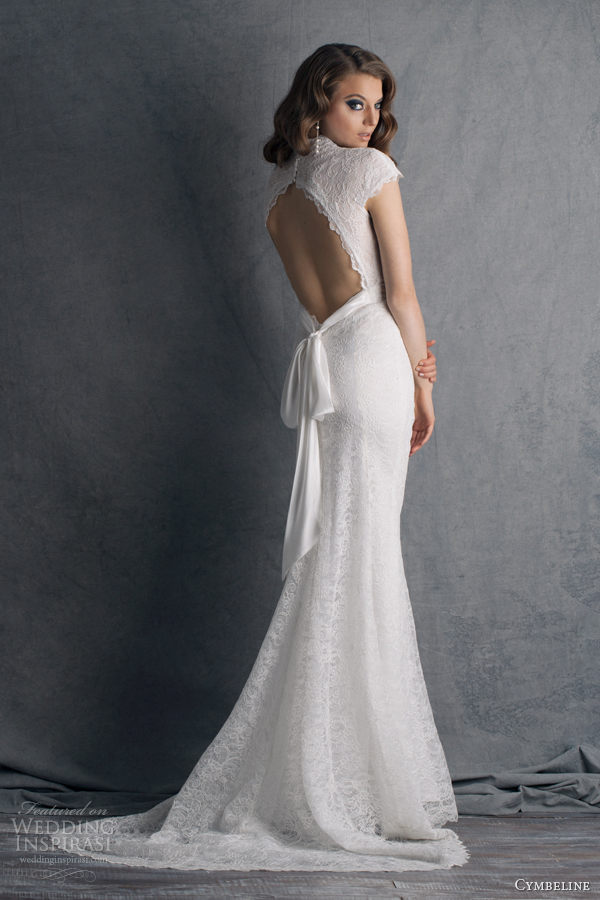 Cymbeline 2014 wedding dresses je vous aime bridal for Lace cap sleeve keyhole back wedding dress