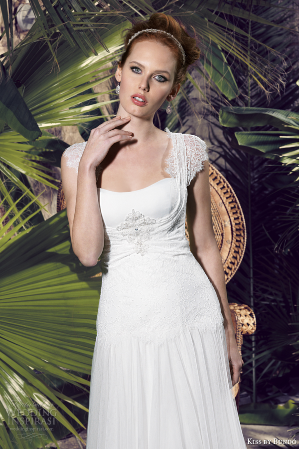kiss by bundo 2014 kary lace scallop cap sleeve wedding dress close up bodice