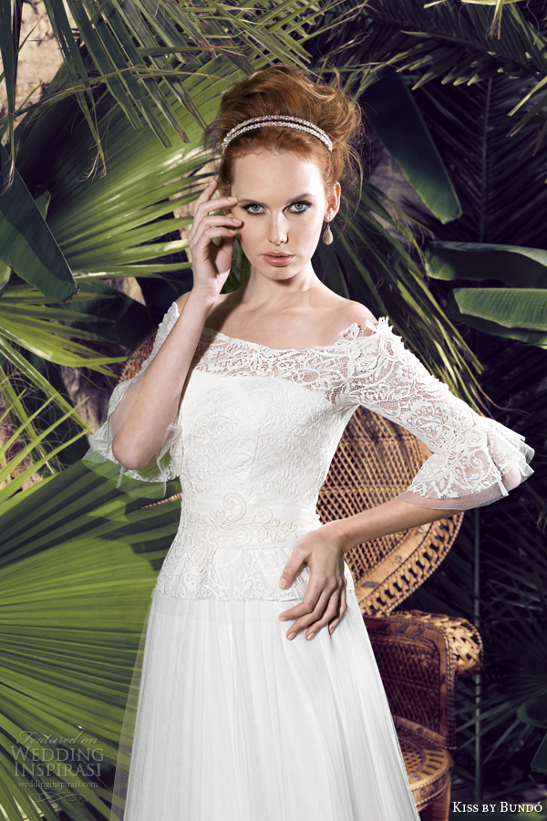 kiss by bundo 2014 kuka off shoulder wedding dress with sleeves close up