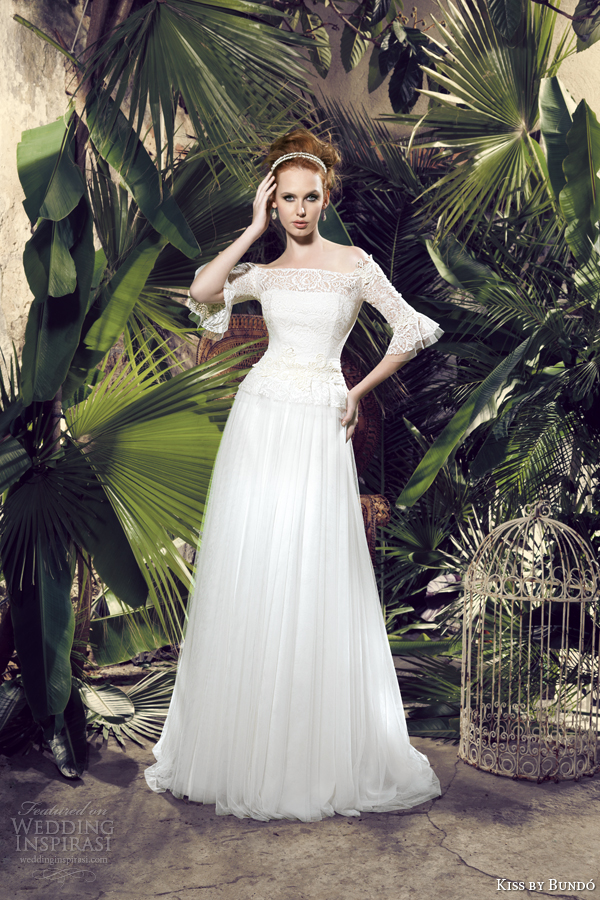 kiss by bundo 2014 kuka off shoulder wedding dress with sleeves