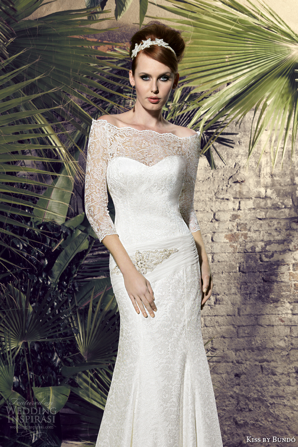 kiss by raimon bundo 2014 kamila sleeve wedding dress off shoulder lace bodice